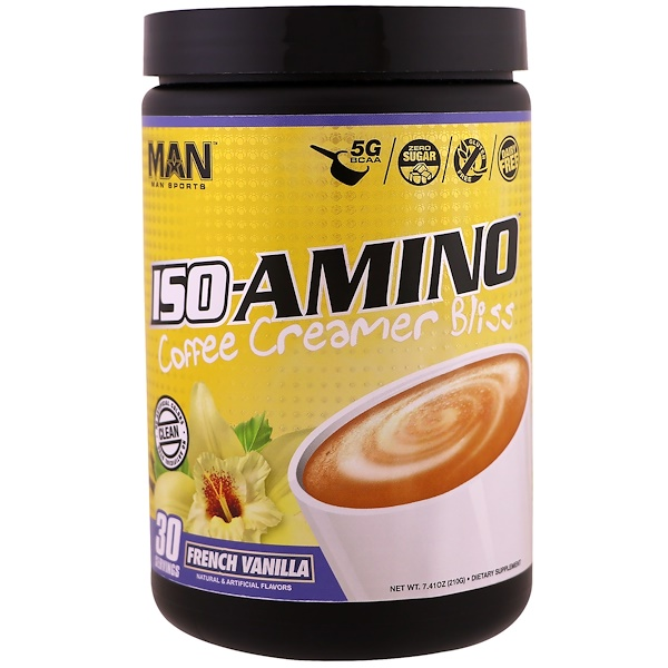 MAN Sports, ISO-Amino Coffee Creamer Bliss, French Vanilla, 7.41 oz (210 g) (Discontinued Item)