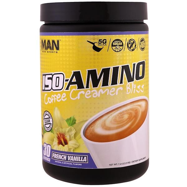 MAN Sports, ISO-Amino Coffee Creamer Bliss, French Vanilla, 7.41 oz (210 g) (Discontinued Item)