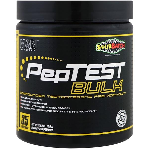 MAN Sports, PepTest Bulk,鍛煉前複合睾酮,Sour Batch,9、88盎司(280克)