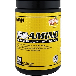 MAN Sports, ISO-Amino, Pure isolated BCAA, Mango, 8.99 oz, (255 g)