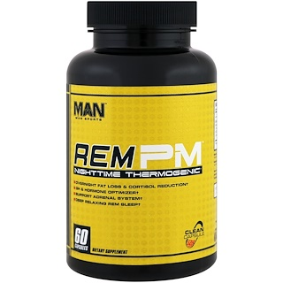 MAN Sports, Rem PM, Nighttime Thermogenic, 60 Capsules