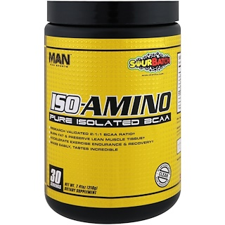 MAN Sports, ISO-Amino, Pure Isolated BCAA, Sour Batch, 7.41 oz (210 g)