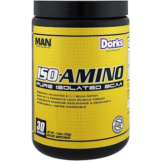 MAN Sports, ISO-Amino, Pure Isolated BCAA, Dorks, 7.41 oz (210 g)