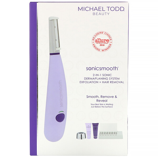 Sonicsmooth, 2-in-1 Sonic Dermaplaning System, Lavender, 5 Piece Set