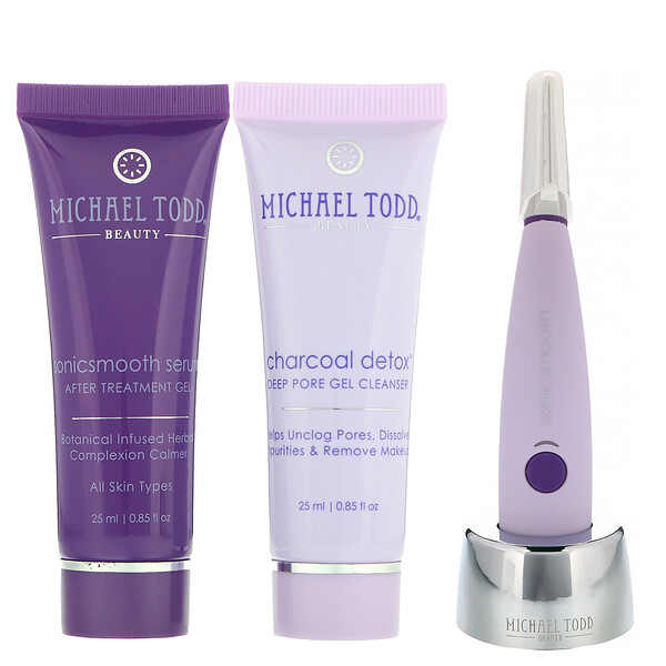 Michael Todd Beauty, Sonicsmooth, 2-in-1 Sonic Dermaplaning System, Lavender, 5 Piece Set