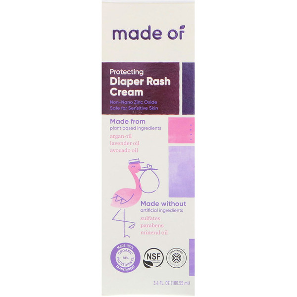 MADE OF, Protecting Diaper Rash Cream, 3.4 fl oz (100.55 ml) (Discontinued Item)