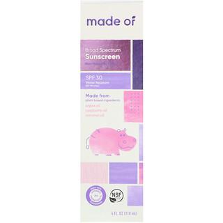MADE OF, Broad Spectrum Sunscreen, SPF 30, 4 fl oz (118 ml)