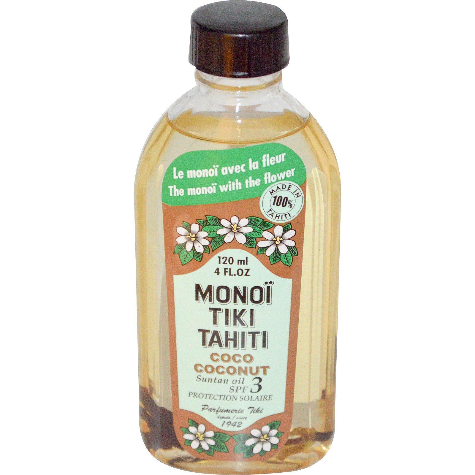 Monoi Tiare Tahiti, Кокосовое, укрепляющее масло SPF 3, с солнцезащитным эффектом, 120 мл (4 жидких унций)