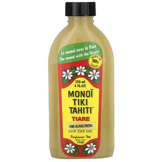 Monoi Tiare Tahiti, 자외선 차단제 포함 썬탠 오일, SPF 3, 120ml(4fl oz)