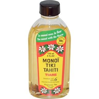 Monoi Tiare Tahiti, Suntan Oil SPF 6 Protection Solaire, Tiare (Gardenia), 4 fl oz (120 ml)