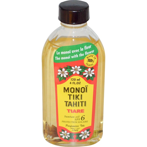Suntan Oil SPF 6 Protection Solaire, Tiare (Gardenia), 4 fl oz (120 ml)