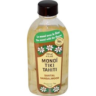 Monoi Tiare Tahiti, タヒチ産モノイティキ、サンダルウッド、4 fl oz (120 ml)