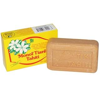 Monoi Tiare Tahiti, ココナッツオイル石鹸、ティアレ(クチナシ) の香り、 4.55 oz (130 g)