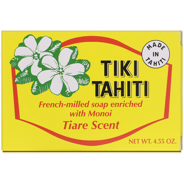 Monoi Tiare Tahiti, French-Milled Soap Enriched with Monoi, Tiare Scent, 4.55 oz (130 g)