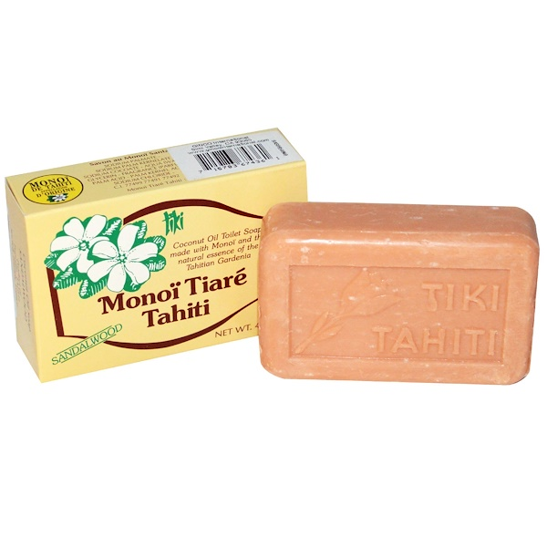 Monoi Tiare Tahiti, Coconut Oil Soap, Sandalwood Scented, 4.55 oz (130 g)