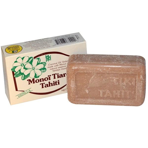 Monoi Tiare Tahiti, Coconut Oil Soap, Vanilla Scented, 4.55 oz (130 g)