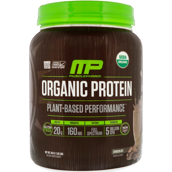 MusclePharm, Organic Protein, Plant-Based, Chocolate, 1.35 lbs (611 g)