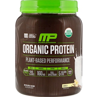 MusclePharm Natural, Organic Protein, Plant-Based, Vanilla, 1.25 lbs (567 g)