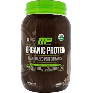 MusclePharm Natural, Organic Protein, Plant-Based, Chocolate, 2.7 lbs (1.22 kg)