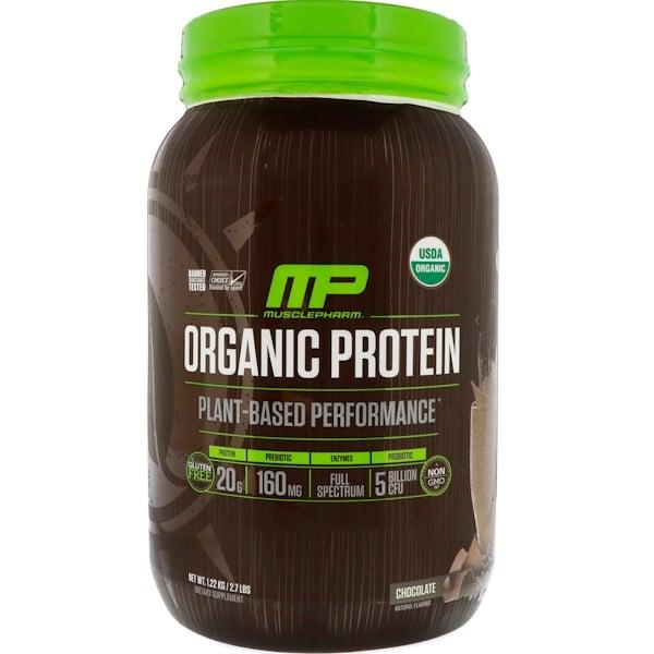 MusclePharm Natural, オーガニックプロテイン、植物ベース、チョコレート、2.7ポンド (1.22 kg)