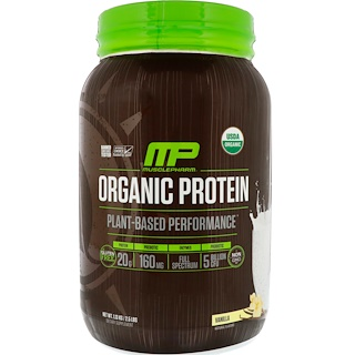 MusclePharm Natural, Organic Protein, Plant-Based, Vanilla, 2.5 lbs (1.13 kg)
