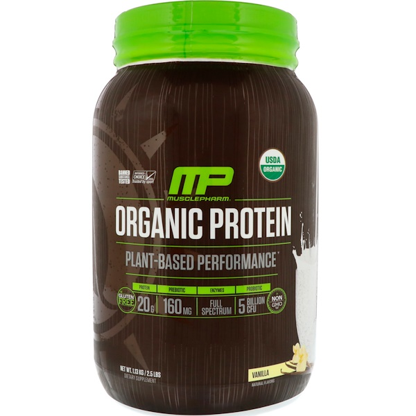 MusclePharm Natural, Organic Protein, Plant-Based, Vanilla, 2、5 lbs (1、13 kg)