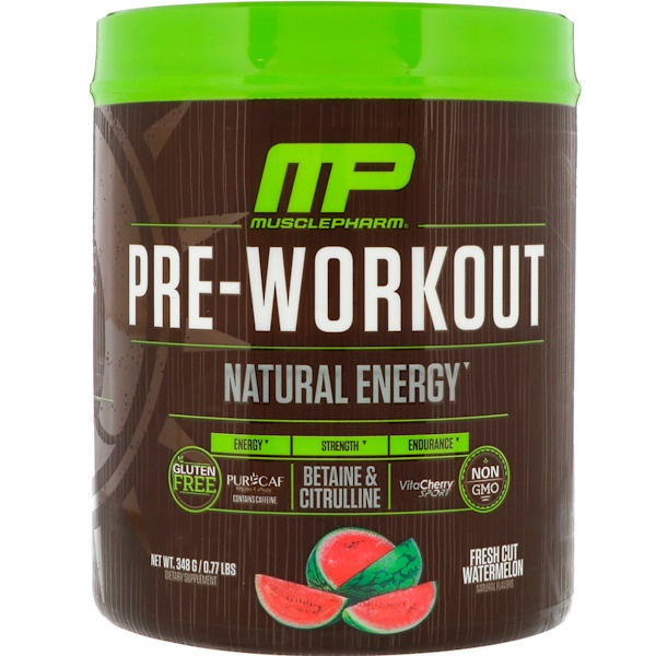 MusclePharm Natural, Pre-Workout, Fresh Cut Watermelon, 0.77 lbs (348 g)