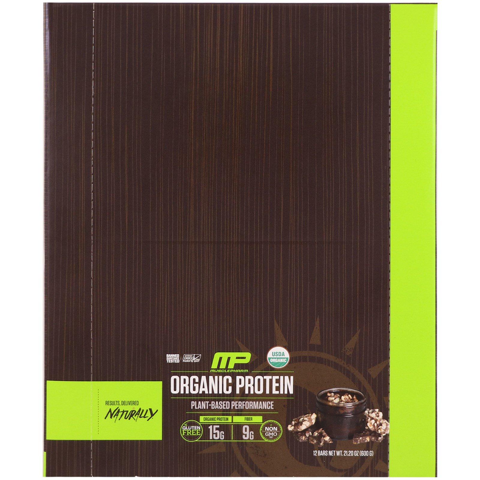 MusclePharm Natural, Органический протеиновый батончик, шоколадная тянучка, 12 батончиков, 21,20 унц. (600 г)