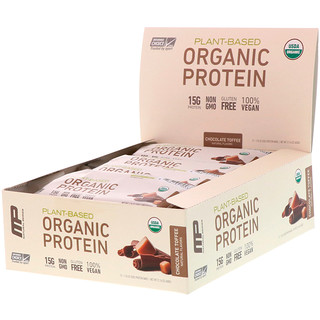 MusclePharm Natural, Natural Series, Plant-Based Organic Protein Bar, Chocolate Toffee, 12 Bars, 1.76 oz (50 g) Each