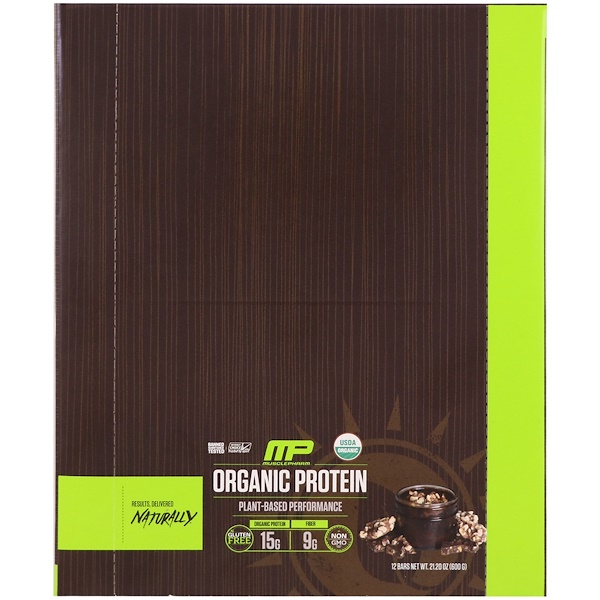 MusclePharm Natural, Organic Protein Bar, Chocolate Toffee, 12 Bars, 21.20 oz (600 g)