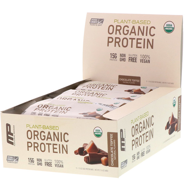 MusclePharm, Plant-Based Organic Protein Bar, Chocolate Toffee, 12 Bars, 1.76 oz (50 g) Each
