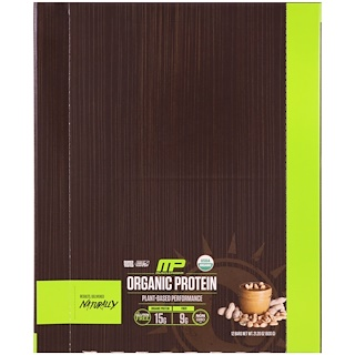 MusclePharm Natural, Organic Protein Bar, Peanut Butter, 12 Bars, 21.20 oz (600 g)
