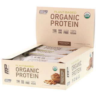 MusclePharm Natural, Plant-Based Organic Protein Bar, Peanut Butter, 12 Bars, 1.76 oz (50 g) Each