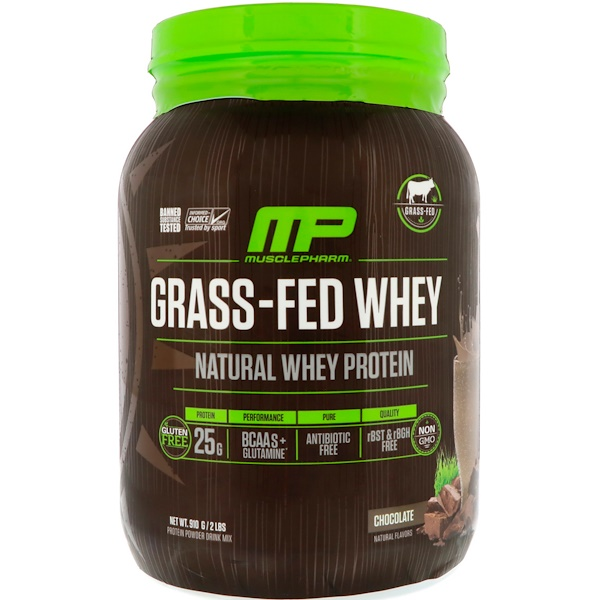MusclePharm Natural, 牧草飼育ホエイタンパク質、チョコレート、2ポンド (910 g) (Discontinued Item)