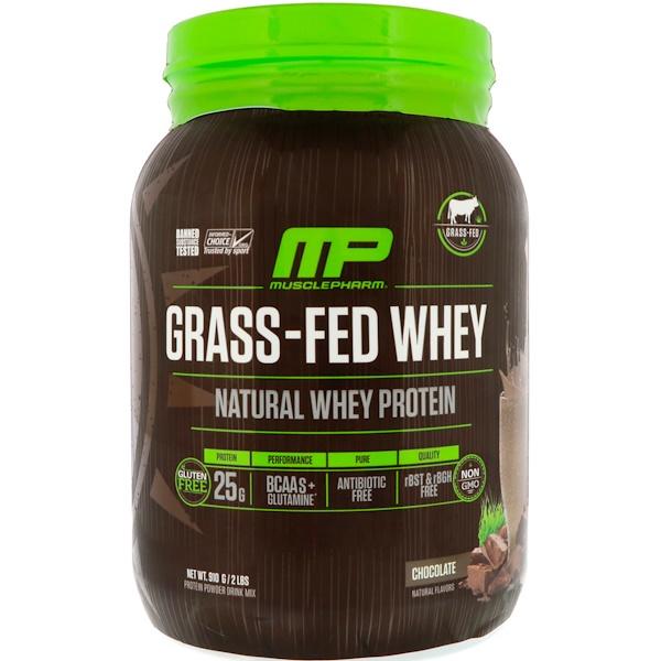 MusclePharm Natural, 牧草飼育ホエイプロテイン、チョコレート、2ポンド (910 g)
