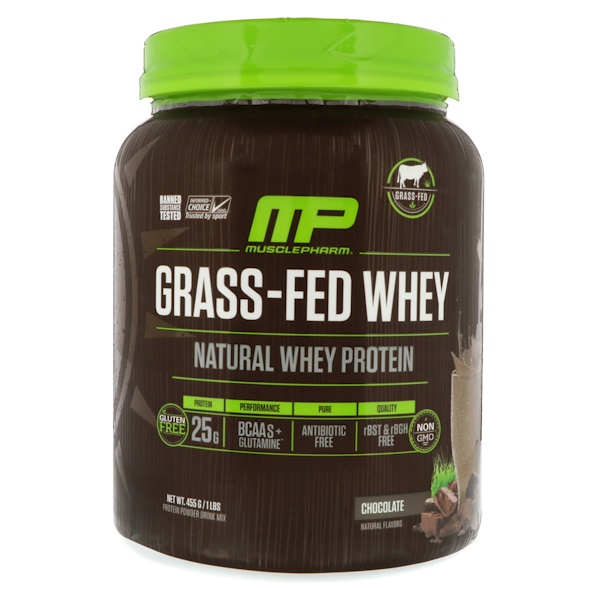 MusclePharm Natural, Grass-Fed Whey Protein, Chocolate, 1 lbs (455 g) (Discontinued Item)