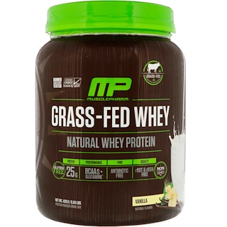 MusclePharm Natural, Grass-Fed Whey Protein, Vanilla, 0.93 lbs (420 g)