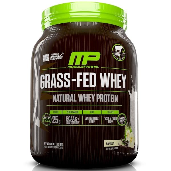 MusclePharm Natural, 牧草飼育牛ホエイ, 天然ホエイプロテインパウダー・ドリンクミックス, バニラ, 1.85 lbs (840 g)