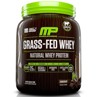MusclePharm Natural, Grass-Fed Whey, Natural Whey Protein Drink Mix, Chocolate, 1 lbs (455 g)