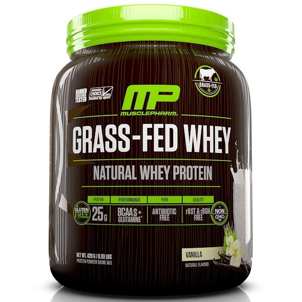 MusclePharm Natural, Сыворотка из молока коров на подножном корме, смесь для приготовления напитка с натуральным сывороточным протеином, ваниль, 0,93 фунта (420 г) (Discontinued Item)