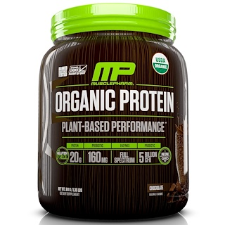MusclePharm Natural, Organic Protein, Plant-Based Performance, Chocolate, 1.35 lbs (611 g)