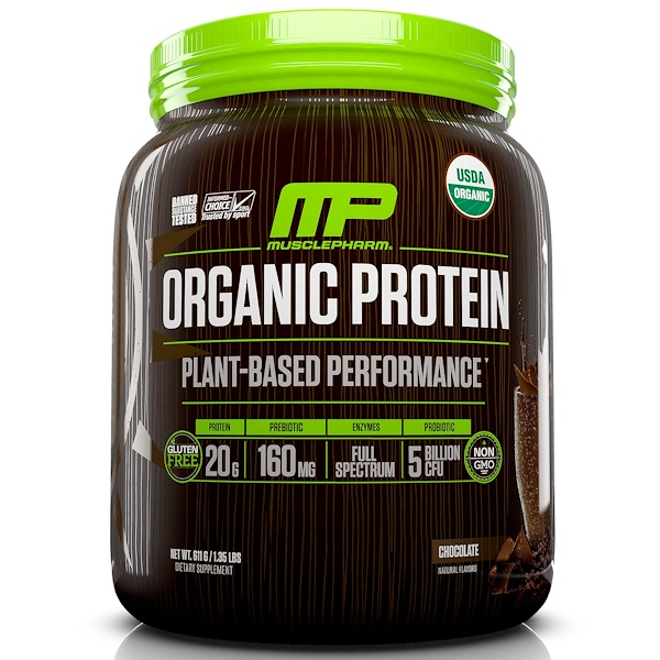 MusclePharm Natural, 有機蛋白,植物性性能,巧克力味,1、35 lbs (611 g)
