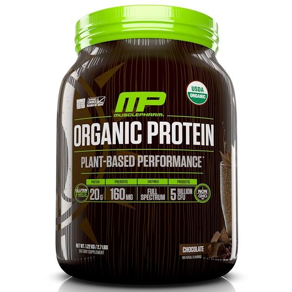 MusclePharm Natural, 有機蛋白,植物性性能,巧克力味,2、7 lbs (1、22 kg)