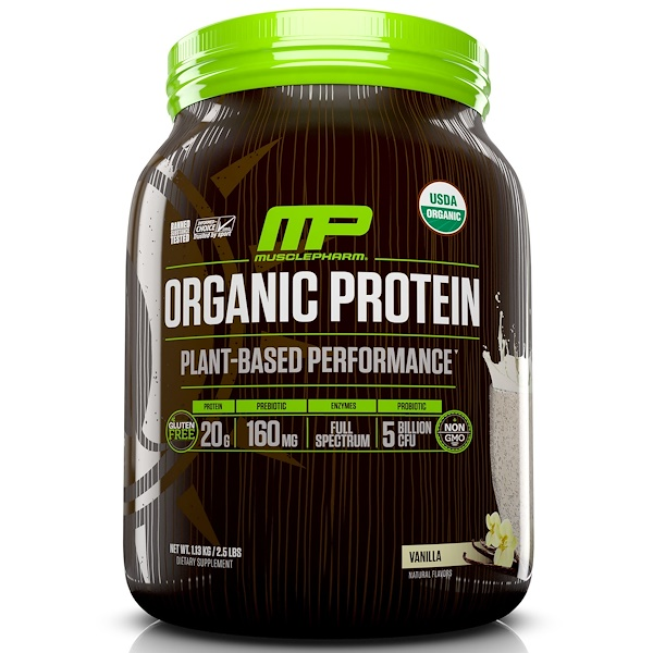 MusclePharm Natural, Organic Protein, Plant-Based Performance, Vanilla , 2.5 lbs (1.13 kg) (Discontinued Item)