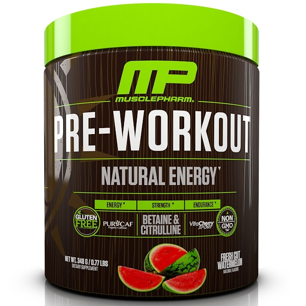 MusclePharm Natural, 鍛煉前,天然能量,新開西瓜,0、77 lbs (348 g)