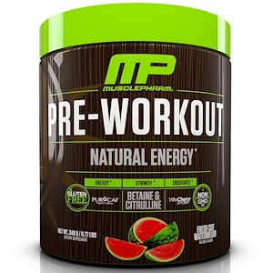 Мускле Фарм Натурал, Pre-Workout, Natural Energy, Fresh Cut Watermelon, 0.77 lbs (348 g) отзывы