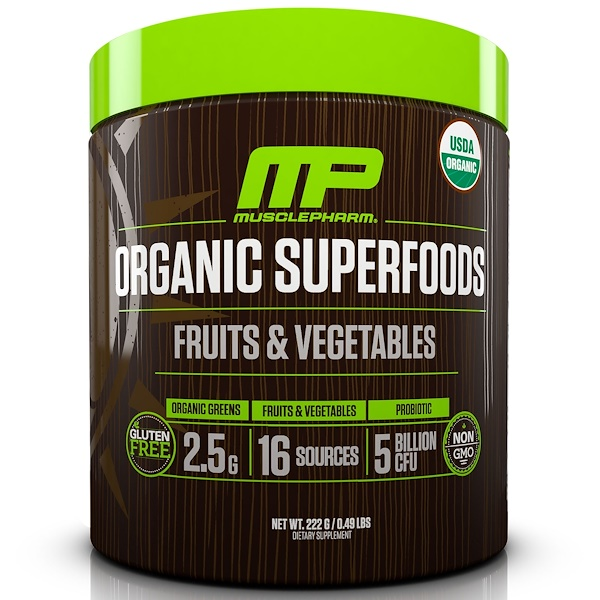 MusclePharm Natural, 有機超級食品,水果蔬菜,0、49 lbs (222 g)