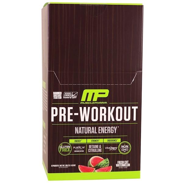 MusclePharm Natural, Перед тренировкой, натуральная энергия, свеженарезанный арбуз, 12 пакетов, 4,91 унции (139,2 г) (Discontinued Item)
