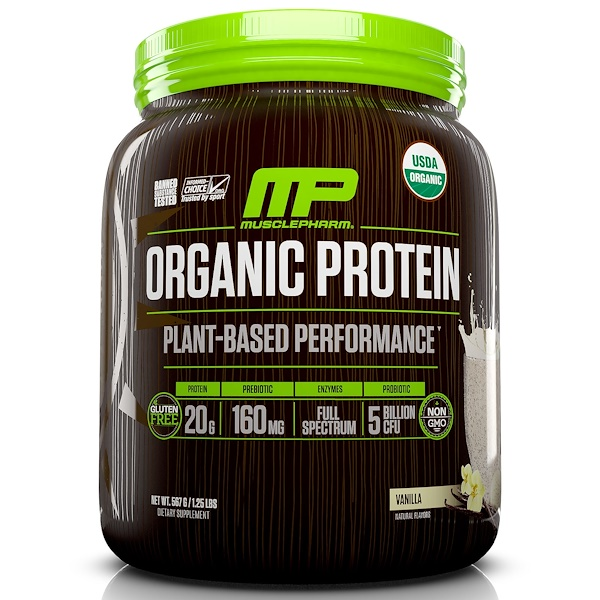 MusclePharm Natural, Organic Protein, Plant-Based Performance, Vanilla, 1.25 lbs (567 g)