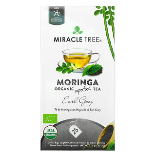 Miracle Tree, Moringa Organic Superfood Tea, Earl Grey, 25 Tea Bags, 1.32 oz (37.5 g)